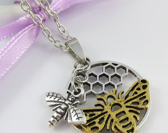 Two Tone Honeycomb Queen Bee Worker Bee Charm Necklace Silver Tone 75cm