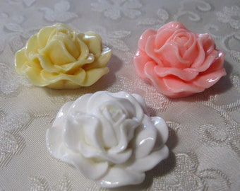 Large Peony Rose Resin Flower Cabochons No Hole 31mm Choose Your Colors 909