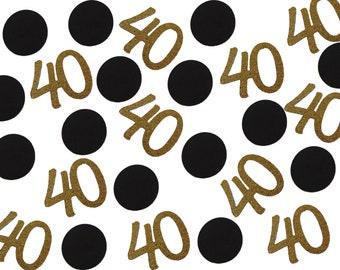 40th Birthday Confetti, 40th Anniversary Confetti, Gold Decor  - No1135