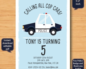 police car birthday invitation-SELF EDITABLE PDF -5 x 7inch Customisable Printable Birthday Party Invite - Instant Download