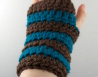 Dark Brown and Aqua Striped Crocheted Wrist Warmers (size S-M) (SWG-WW-SJ15)