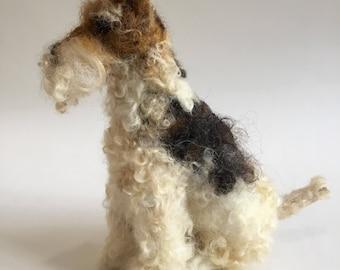 Felix die Nadel gefilzt Drahthaar Foxterrier Hund Skulptur