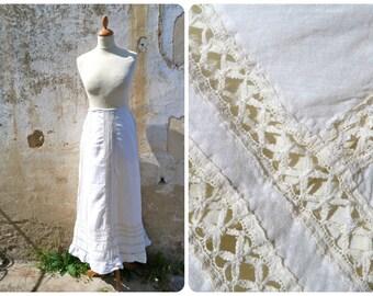 Vintage Antique Edwardian French 1900 ecru cotton & lace skirt size XS XXS