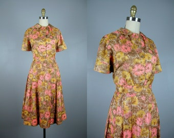 Vintage 1950s Floral Nylon Dress 50s Pink Brown and Yellow Flower Print Silky Nylon Dress Set Size M