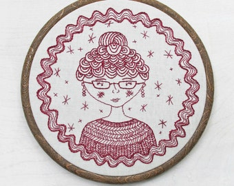 CAPTAIN'S WIFE pdf embroidery pattern, sea captain wife, topknot lady pattern, rik rac border, stitching, embroidery hoop, cozyblue on etsy
