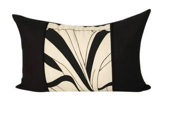 Lumbar Pillow, Asian Design, Long Black and White Pillow, Long Black Pillow, Japanese Home Décor, 20x14 Pillow