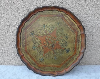 Large round serving tray Vintage tray Florentine Made in Italy