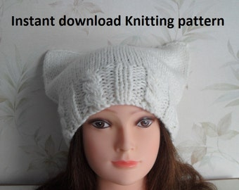 Instant Download knitting pattern - Cat ear hat knitting pattern - Knit hat pattern - Womens hat knitting pattern – Cat beanie knit pattern