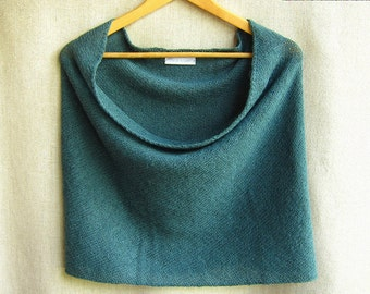 knit infinity scarf cowl wrap snood in teal alpaca lambswool