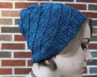 knit hat, blue hat, handknit beanie