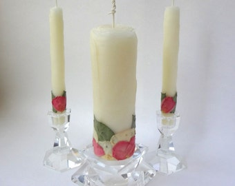 Custom Unity Candle Set, Beeswax Rose Unity Candle, You Choose Petal Colors, Unique Unity Candle, Elegant Wedding Ceremony Decor Candles