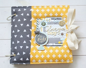 Baby memory book, Boy photo album, Yellow & grey photo album