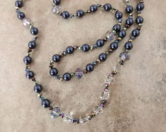 "Handknotted Bead Necklace of Midnight Blue Glass Pearls and Clear Crystals - ""Midnight Maven"" - Item 1624"