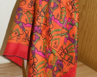 Vintage VERA Scarf Ancient Horse and King Print