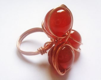 Copper ring and Carnelian technical wire