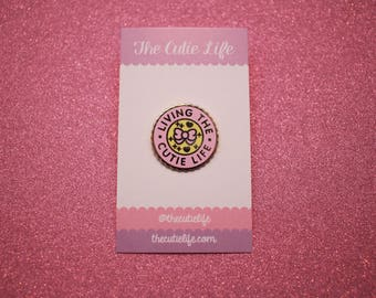Pink and Yellow Living The Cutie Life Enamel Pin