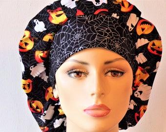Halloween Scrub Hat-Bouffant Scrub Hats-Pumpkins and Ghost Scrub Hats-Scrub Caps-SilverCaps-Boufant Caps-Holiday Scrub Hat-Medical Scrub Hat