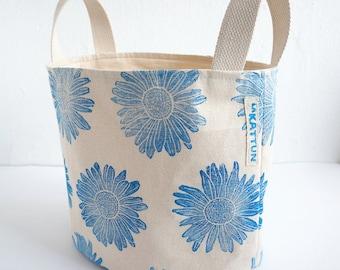 Blockprinted Fabric Basket, Organizer, Organic Cotton, Fabric Bin, Hand-stamped, Blue Fabric