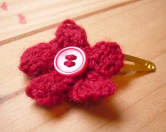 Knitted Hair Clip, Red Hair Flower