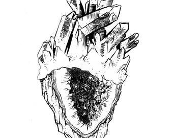 Crystal Heart; art print, heart print, artwork, design, home decor