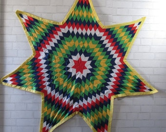 Vintage Hand Stitched Star Wall Hanging