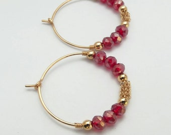 Red Hoop Earrings  Gold Hoop Earrings Red Crystal Gold And Red Earrings Yellow Gold Filled 14 K Red and Gold hoop