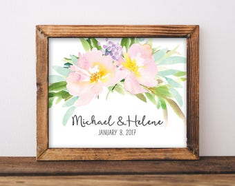 Couple Name Print - Important Dates Print - Wedding Date Art - Custom Date Sign - Personalized Wedding Gift - Newlywed Gift - Printable 8x10