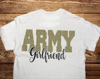 Army Girlfriend, White Short Sleeve, Glitter Tee