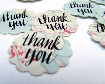 Handwritten Thank You Stickers, Package of 20 Vintage Atlas Map Stickers, Hand Lettered Calligraphy,  Wedding Stationery Seals, Party Favor