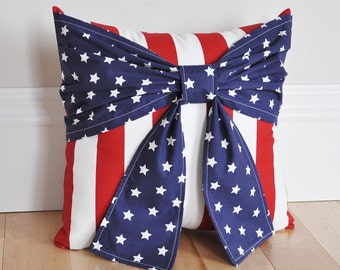 Stars and Stripes Patriotic Pillow, Red White and Blue Pillows, Fourth Of July Bow Pillow