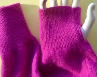 Cashmere Fingerless Rose pink gloves arm warmers texting upcycled soft