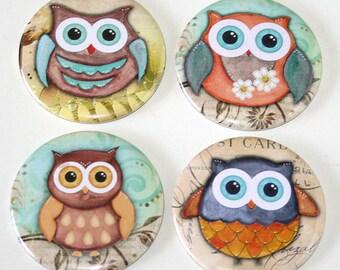 Cute Kawaii Owls - Set of 4 Large Fridge Magnets
