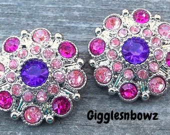 NEW Set of Two LIMITED EDITION Purple/ Bright Pink/ Shocking Pink Acrylic Rhinestone Buttons 27mm