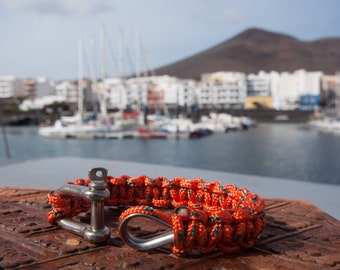 BRACELET MACRAME with Manila rope knot stainless - Orange - sailors knots - seamanship - 100% handmade