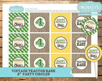 "Personalized Vintage Tractor Bash 2"" Party Circles - Cupcake Toppers, Gift Tags, Favor Tags and More"