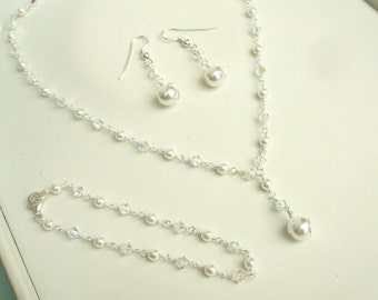 Swarovski wedding set, Swarovski crystal and pearl bridal set, pearl jewelry set, crystal jewellery set, wedding sets, bridal jewellery sets