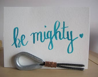 """Wall Art Decor """"Be Mighty"""" - Dorm Wall Decor - Bedroom Decor - Cheap Gifts For Her Mom Sister Aunt Daughter - Watercolor Brush Lettering"""
