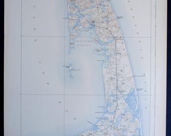 1923 Cape Cod, Wellfleet Harbor Islands, Brewster, Orleans, Truro Antique Map of Massachusetts MA. Large Original Topographical