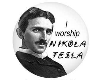 """2.25"""" Tesla Pinback or Magnet for the Vintage Electronic Fan"""