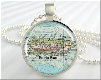 Puerto Rico Map Pendant, Resin Charm, Map Necklace, Resin Picture Pendant, Map Charm, Gift Under 20, Travel Gift, Round Silver 386RS