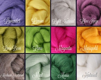 SELECT 5 or 10 COLORS, Wool Roving, Roving Wool, Wool Roving Felting, Wool Roving 4 Spinning, Wool Roving for Sale, Needle Felting Supplies