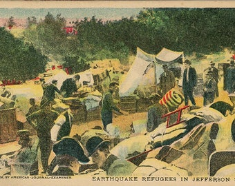 Earthquake Refugees Jefferson Square San Francisco California Vintage Postcard 1906 (unused)