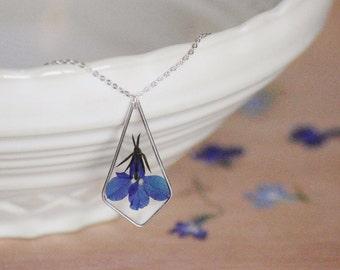 Pressed lobelia necklace 925 Sterling Silver Real lobelia Resin pendant Nature Gift idea Blue flower Gift for her Natural pendant Botanical