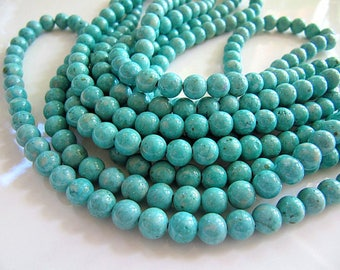 set of 25 8 mm natural turquoise fossil beads