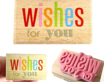 Wishes for you - Rubber Stamp - Etsy Shop, Logo, Branding, Packaging, Invitations, Party, Favors, Wedding Gifts