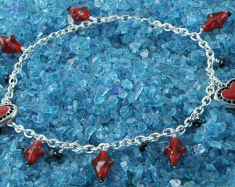 Handmade Anklet Red Hearts and Beads on Silver Chain