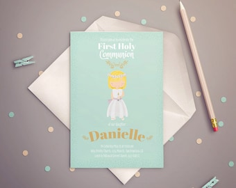 FIRST COMMUNION Invitation Girl, Mint & Gold. PRINTABLE.
