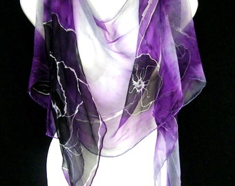 Poppies Silk Scarf, Hand Painted Silk Scarf, Black Purple Gray, Boho Chic, Silk Chiffon Scarf, CUSTOM ORDER