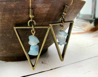 March Birthstone Earrings-Raw Aquamarine Earrings-Raw Stone Earrings-Gemstone Earrings-Boho Dangle Earrings-Gift for Wife-Mothers Day Gift