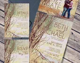 Vintage Photo Wedding Invitation Suite / RSVP / Invitation / Save The Date / Details / Wedding / Photo Wedding Invitation/ 5x7 Invitation